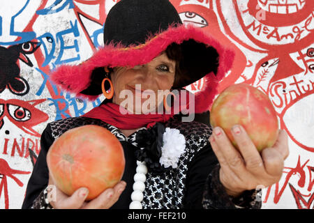 ' la Pinturitas' ugly tomato contest in Tudela. Navarre. Spain - Stock Photo