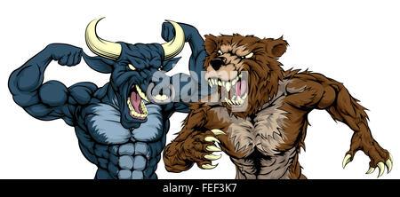 A cartoon bear fighting a cartoon bull mascot character standing for the bears versus bulls stock market metaphor - Stock Photo