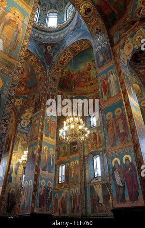 View looking up at the painted columns, walls & ceiling inside the Church of the Savior on Spilled Blood, St Petersburg, - Stock Photo