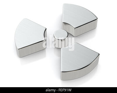 Metallic radiation symbol on a white background. - Stock Photo