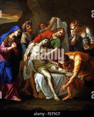 La Mise au tombeau - Entombment Antoine by Bouzonnet Stella 1637-1682 France French - Stock Photo