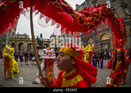 Edinburgh UK Feb 06 2016; Hundreds gather to celebrate Chinese New Year at the Edinburgh's City Chambers with dancers, - Stock Photo