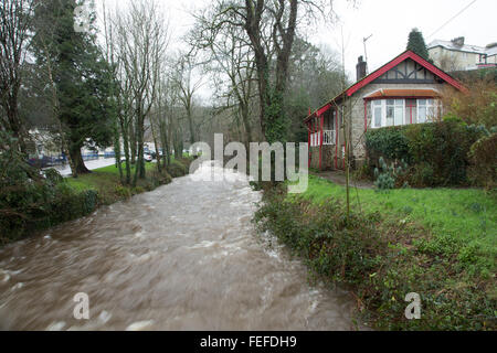 Okehampton, Devon, UK. 6th February, 2016. High river levels at Simmons Park in Okehampton during storm. Credit: - Stock Photo