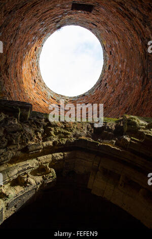 Interior of a derelict windmill, Norfolk St Benet's Abbey gatehouse & Mill - Stock Photo