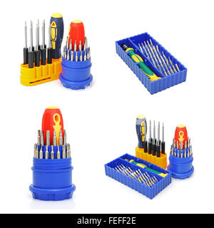 Set of screw-drivers for special works on a white. Collage - Stock Photo