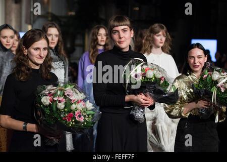 "Copenhagen, Denmark, February 5, 2016. The three winners of ""Designers Nest"" award show for promising young Scandinavian - Stock Photo"