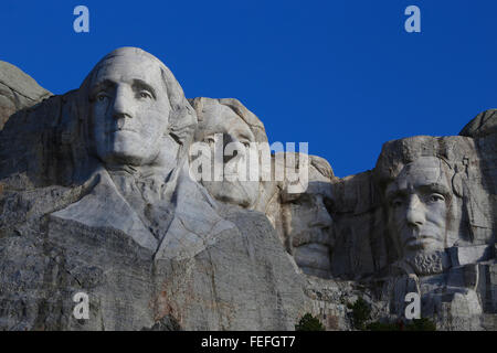 Mount Rushmore National Memorial clear blue sky - Stock Photo