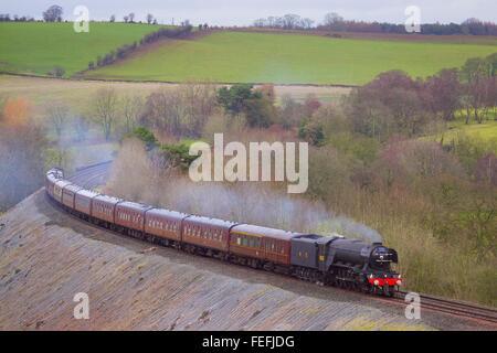 Cumbria, UK. 6th Feb, 2016. Armathwaite, Settle to Carlisle Railway Line UK. Steam train LNER A3 Class 4-6-2 no - Stock Photo