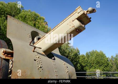 Vintage defense artillery, schneider 155 CM 1917 gun in La bateria park, Torremolinos, Costa del Sol, Spain. - Stock Photo