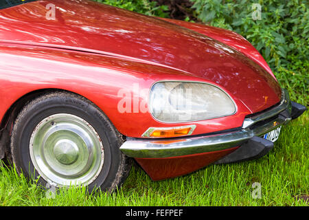 Vintage car, Citroen DS, close-up of front detail - Stock Photo