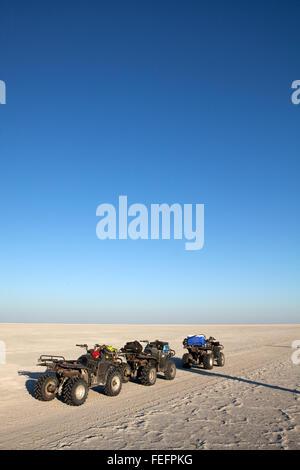 Campsite on Sua Pan, Botswana. - Stock Photo