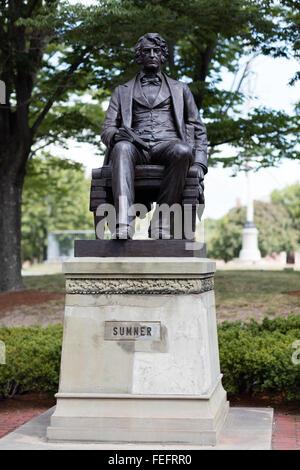 August 2015 Cambridge, Massachusetts, USA.  statue of Sumner in Harvard University. - Stock Photo