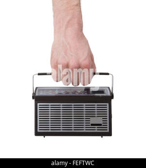 Small pocketradio, isolated on a white background - Stock Photo