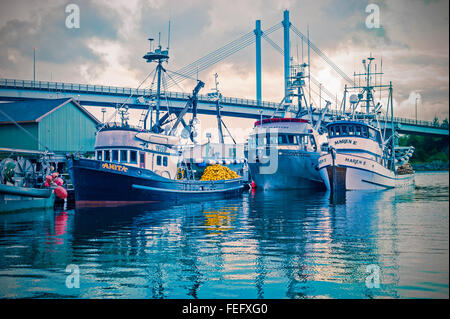 Commercial fish purse seine boats tied up at the fuel dock in downtown Sitka, Alaska, USA. - Stock Photo