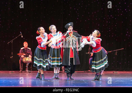 Russian folk dancers performing in The Pacifica Theatre, Royal Caribbean's Brilliance of the Seas cruise ship, North - Stock Photo
