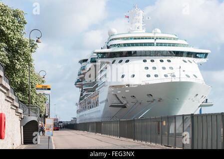 Royal Caribbean's Brilliance of the Seas cruise ship moored in Copenhagen, Hovedstaden Region, Denmark - Stock Photo
