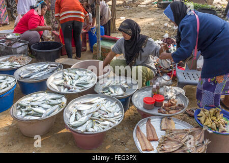 Customer buying fish from woman vendor, small market in Nakhon Si Thammarat province, Thailand - Stock Photo