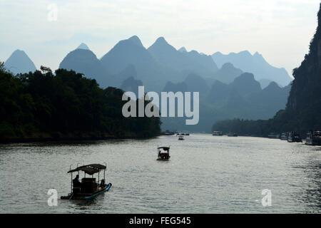boats on the Li River - Stock Photo