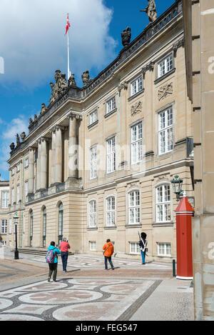 Amalienborg Royal Palace, Royal Palace Square, Copenhagen, Hovedstaden Region, Kingdom of Denmark - Stock Photo