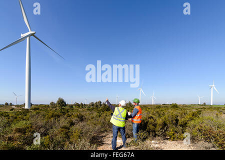 Engineers of wind turbine control projects and production. - Stock Photo