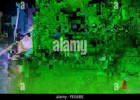Scrambled cable TV broadcast signal, television screen display digital glitch, tv failure, digital artifacts on - Stock Photo