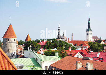 View of Old Town from walls, Tallinn, Harju County, Republic of Estonia - Stock Photo