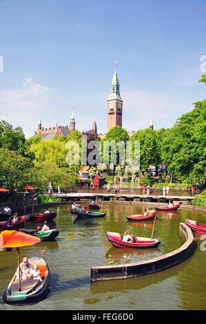 Dragon Boat Lake, Tivoli Gardens, Copenhagen, Denmark - Stock Photo