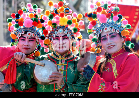 Beijing, China. 1st Feb, 2016. Folk artists pose for a photo during a rehearsal for a upcoming temple fair to celebrate - Stock Photo