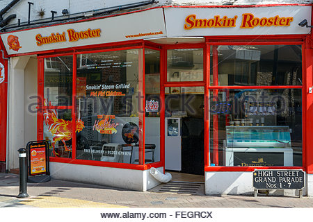 Smokin' Rooster takeaway entrance, Poole, Dorset England UK - Stock Photo