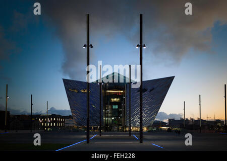 Dusk at the Titanic museum , on the site of the former Harland and Wolff shipyard , Titanic Quarter Belfast - Stock Photo