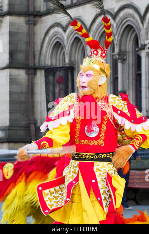 Manchester UK  7th February, 2016. Chinese New Year Dragon Parade.  The Year of the Monkey parade was led by a spectacular - Stock Photo