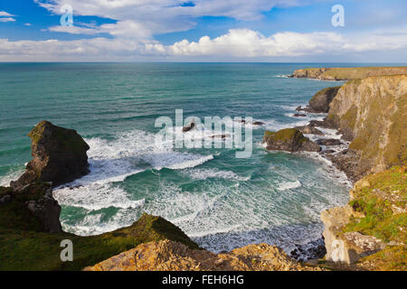 The dramatic sea stacks at Bedruthan Steps on the north coast of Cornwall, England, UK - Stock Photo