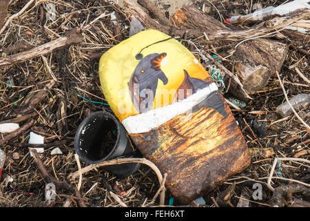 Pembrey Sands, Carmarthenshire, UK. 07th Feb, 2016. Shocking amount of plastic and driftwood washed up on Pembrey - Stock Photo