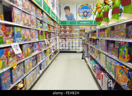 Children board games at a Toys R Us store in Toronto, Canada - Stock Photo