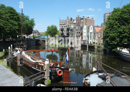 Wooden Dutch sailing barge in the harbour at Delfshaven, Rotterdam, Netherlands - Stock Photo
