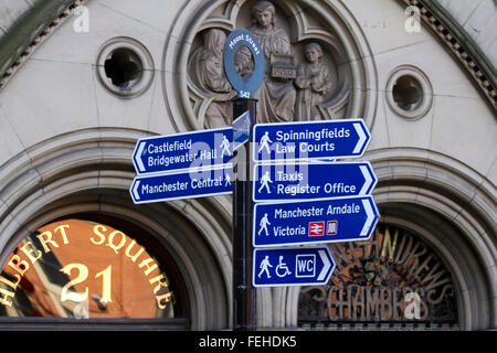 Albert Square Signs in Manchester, UK - Stock Photo