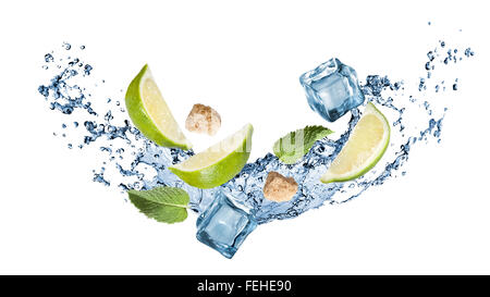 ingredients of mohito cocktail with water splash isolated on white. Header for website - Stock Photo