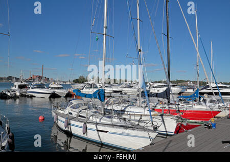 View over boats moored in Pohjoissatama North Harbour in Helsinki, Finland. - Stock Photo