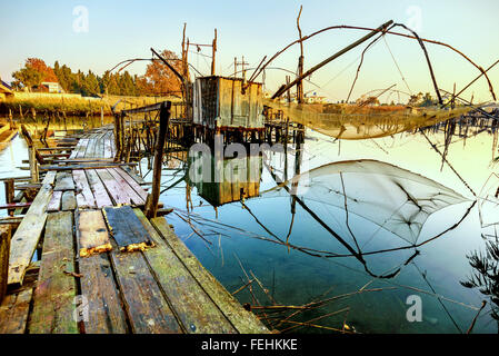 Fishing huts on Port Milena near Ulcinj city, Montenegro - Stock Photo