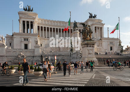 The National Monument of Vittorio Emanuele II in Rome, Italy; Altare della Patria, Altar of the Fatherland - Stock Photo