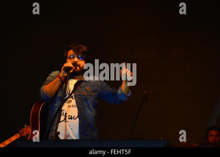 Bollywood singer Pritam performing at Sabarmati Riverfront in Ahmedabad,India - Stock Photo