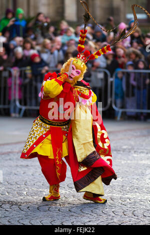 Manchester 7th February, 2016. Chinese New Year Dragon Parade.The Year of the Monkey parade was led by a spectacular - Stock Photo