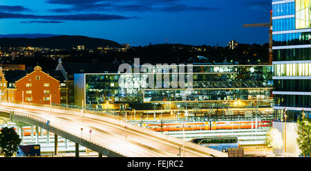 OSLO, NORWAY - JULY 31, 2014: Night View of Cityscape in Oslo, Norway. Summer Season - Stock Photo