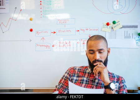 Thoughtful bearded young african american man reading sitting over whiteboard