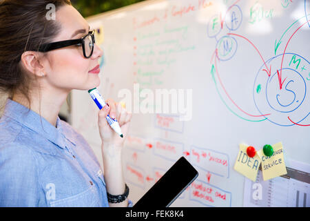 Young busineswoman reading something on whiteboard in office - Stock Photo