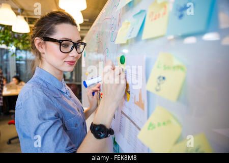 Young woman writing business plan on whiteboard in office - Stock Photo
