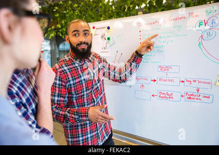 Happy afro american presenting business plan on whiteboard to his colleagues in office - Stock Photo