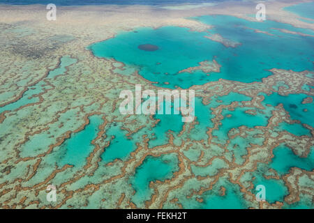 Aerial View of the Great Barrier Reef, Whitsunday Islands, Queensland, Australia - Stock Photo