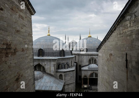 The Blue Mosque (Sultan Ahmet Camii), as seen from the Hagia Sophia, Istanbul, Turkey on May 3, 2015. - Stock Photo
