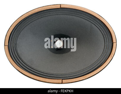 Vintage real retro  sound from the oval paper loudspeaker from the fiftieth years of the last century  for the tube - Stock Photo